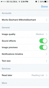 This view shows the settings of your account in the Twitter application.