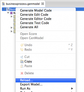 Reload the .genmodel file after applying changes to the .ecore model.